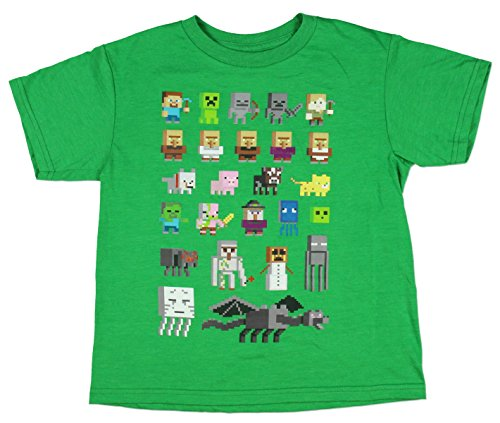 Minecraft Character Short Sleeved Tee (S (6/7), Kelly Green Heather)