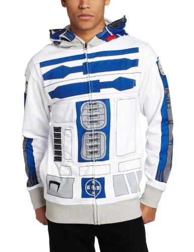Star Wars Men's I am R-2 Fleece Hoodie, White, Medium