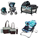Baby Bundle, Travel System,Play Yard, Swing, Diaper Bag (Whale of a Time)