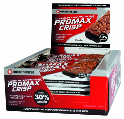 Maximuscle Promax 21 g Chocolate Crisp Protein Bars - Box of 12