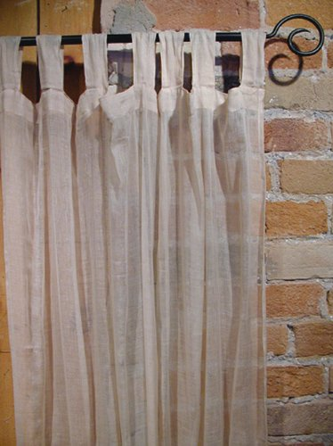 Best Beige Sheer 100 Cotton Gauze Tab Curtain 44 Inches