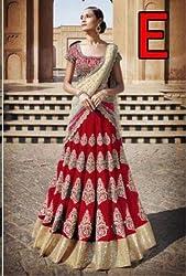 Shree Ganesh Women's Designer Multi-Coloured Silk Semi-Stitched Lahenga Choli [L108 (5)_Multi-Coloured]