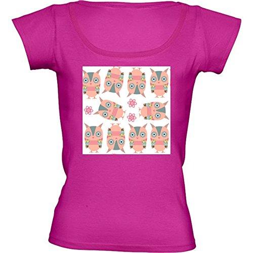 T-shirt Rosa Fuschia Girocollo Donne - Taglia S - Gufi Modello 6 by Luizavictorya72