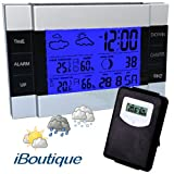 iBoutique Premium Wireless Weather Station with Backlight & Snooze Function, Indoor & Outdoor Temperature, Indoor & Outdoor Humidity Sensors, Moon Phase, Clock, Alarm Display etc.by iBoutique�