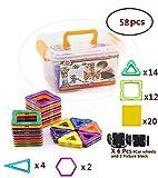 Bebamour 58 PCS Magnetic Building Blocks Magnetic Toys, Educational Construction Stacking Sets