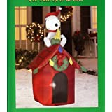 Sports & Outdoors - Christmas 4' Tall Santa Snoopy & Woodstock Doghouse LED Airblown Inflatable by Gemmy Dog House $29.95