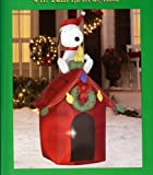Christmas 4' Tall Santa Snoopy & Woodstock Doghouse LED Airblown Inflatable by Gemmy Dog House