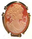 Master Carved, Carnelian Shell Goddess of Music Calliope Cameo Broach and Pendant Italian 18k Yellow Gold