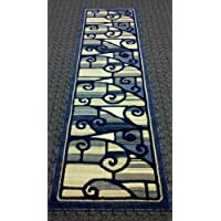 Modern Area Rug Runner 2 Ft. X 7 Ft. 3 In. Blue Design 110