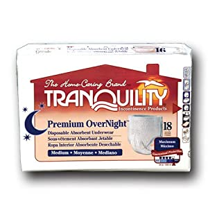 Tranquility Premium OverNight Pull-On Diapers Size Medium Case/72 (4 bags of 18) from Principle Business Enterprises