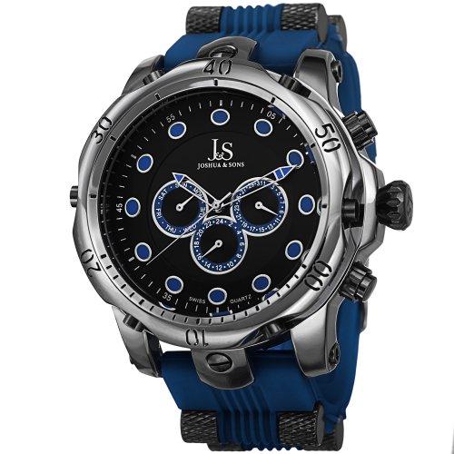 Joshua & Sons Men's 51.5mm Blue Plastic Metal Case Mineral Glass Watch JS71BU