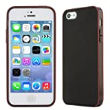 Evecase® Matte Black TPU Cover Case with Red Rim for Apple iPhone 5S 5 5G 6th Generation (All Models 16GB, 32GB, 64GB)