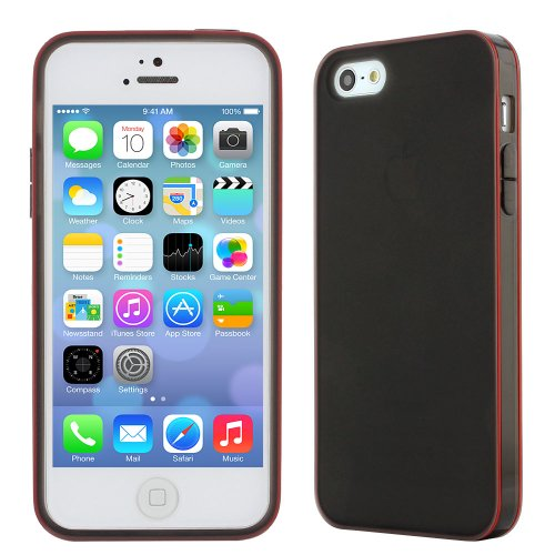 Evecase Iphone 5S / 5 Case - Slim Rubber Tpu Skin Case Cover For Apple Iphone 5 5G / 2013 Iphone 5S - Black/ Red Rim (In Retail Package)