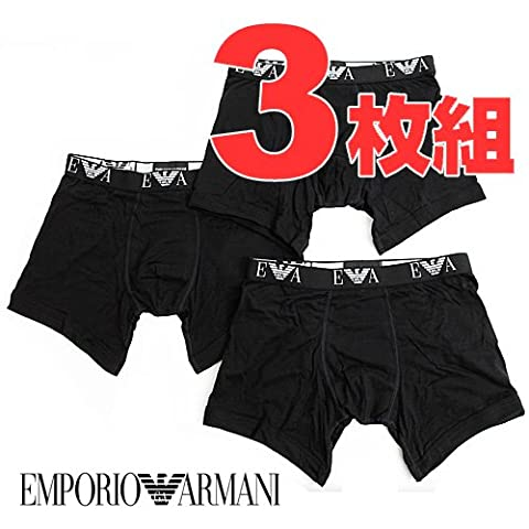 【3枚組】エンポリオアルマーニ EMPORIO ARMANI ボクサーパンツ 110869-CC752-00020 3-PACK COTTON BOXER BRIEF ブラック (L)