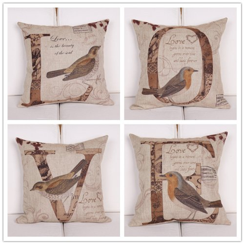 OJIA LOVE Letters with Birds 18 X 18 Inch Cotton Linen Home Decorative Throw Pillow Covers Cushion Cover Couple Pillow Case with Gift Card for Wedding Gift, Set of 4