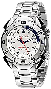 Sector Men's Watch R3253178045 In Collection Shark Master, 3 H and S with 44mm White Dial and Stainless Steel Bracelet