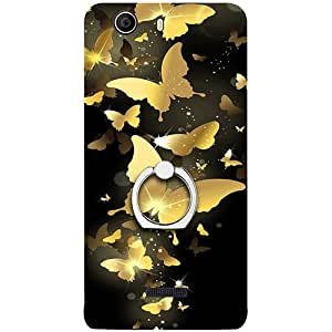 Casotec Golden Butterfly Pattern Design 3D Printed Hard Back Case Cover with Metal Ring Kickstand for Micromax Canvas Nitro 2 E311