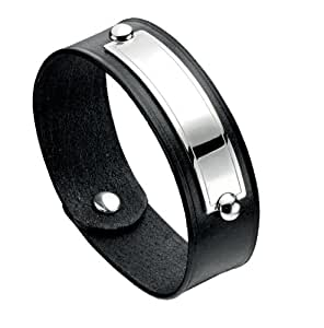 Fred Bennett Sterling Silver Mens Black Leather Cuff with Polished Silver Id Plate of 24cm B3889