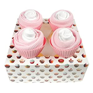 Box of Four Delicious Baby Sock Cupcakes - Baby Girl Pink and White