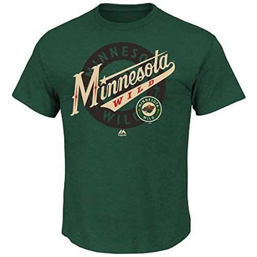 NHL Minnesota Wild Men's Wrist Shot Tee, Small, Dark Green Heather