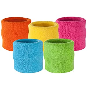Suddora Wrist Sweatband Also Available in Neon Colors - Athletic Cotton Terry Cloth Wristband for Sports (Neon Pink)