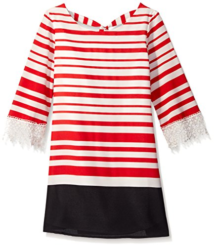 My Michelle Girl's Striped Tie Back A Line Shift Dress with Drippy Lace Bell Sleeves, Red, 12