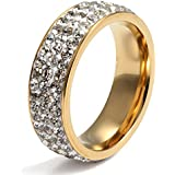 Women Stainless Steel Eternity Ring CZ Cubic Zirconia Crystal Circle Round,Gold,7mm Width