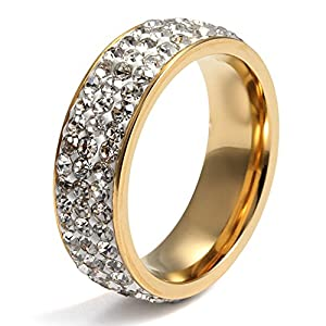 Womens Stainless Steel Eternity Ring Cubic Zirconia Crystal Circle Round,Gold,7mm Width,Size 9