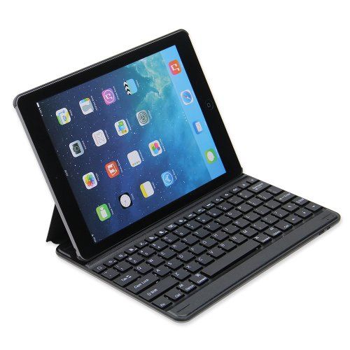 "Newstyle Ultra Slim Aluminum Bluetooth Keyboard Leather Case Cover For Apple Ipad 5 Ipad Air 10.1"" 10.1 Inch Tablet - Black Color"