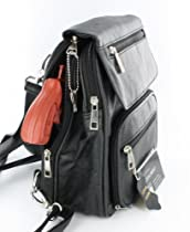 Hot Sale Black Leather R/L Locking Concealment Purse / Backpack - CCW Concealed Carry Gun / Pistol
