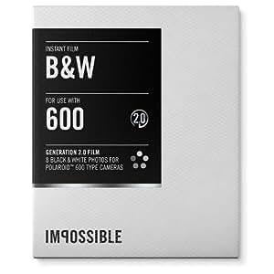 Impossible 600BW Pellicule pour Appareil Polaroid Noir