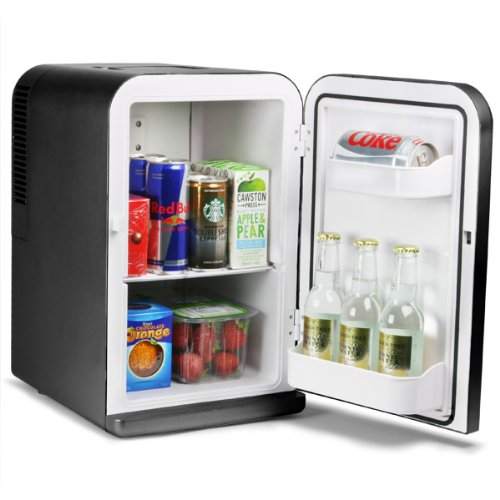 15 Litre Mini Fridge Cooler and Warmer Black | bar@drinkstuff Domestic Mini Fridge, ChillMate Thermoelectric Food & Drinks Chiller, Can Cooler, Beer Cooler, Food Warmer, Car Fridge
