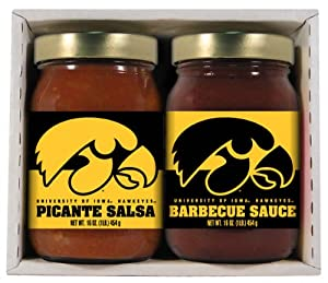 Iowa Hawkeyes NCAA Double Play (16oz BBQ Sauce, 16oz Picante Salsa) by Hot Sauce Harry's