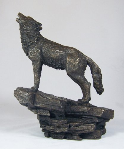 Howling Wolf Sculpture Bronze Art Statue