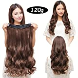 "MONOTELE Fashion Straight 23"" 3/4 Full Head Clip In Hair Extensions With 5 Clips Long (Light Brown Curly)"