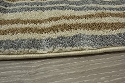 Soft Easy Clean Natural Mottled Effect Striped Lounge Area Rug - Bombay 5 Sizes Available