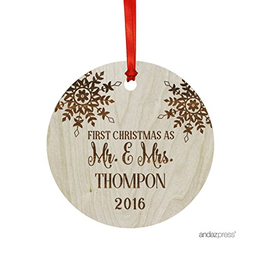 Andaz Press Personalized Laser Engraved Wood Christmas Ornament with Gift Bag, First Christmas as Mr. & Mrs. 2016, Round, Snowflake, Custom Name, 1-Pack, Bride Groom Wedding Gift Ideas