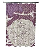 Ebydesign Flowers and Fronds Floral Print Shower Curtain, Plum