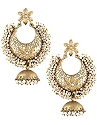The Jewelbox Large Pearl Filigree Antique Gold Plated Chaand Bali Jhumki Earring