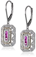 S&G Sterling Silver, 14k Yellow Gold, and Gemstone Art Deco-Style Drop Earrings with Diamond Accents (0.13 cttw, I-J Color, I2-I3 Clarity) from Amazon Curated Collection