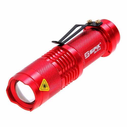 Ebest-Sipik SK68-3W Cree XR-E Q3 160lm 1-Mode White Zooming Mini Flashlight - Red (1 x AA / 14500), as picture