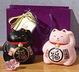 Gift Bag - 2 Maneki Neko Feng Shui Lucky medium cats for black for protection pink for love