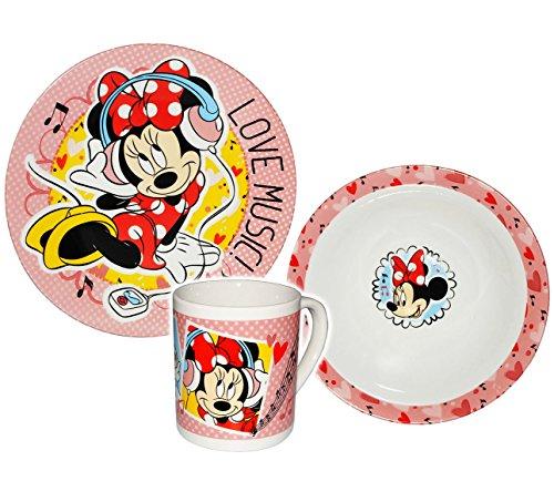 2-Wahl-mit-Farbfehlern-3-tlg-Geschirrset-Minnie-Mouse-Porzellan-Keramik-Trinktasse-Kind-Kinder