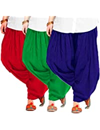 Women's BLUE-GREEN-RED Cotton Patiala Salwar (pack Of 3)
