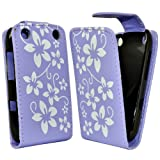 Accessory Master Case for Blackberry Curve 9320 Leather Flower Design Purple