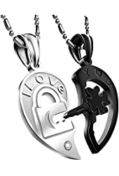 "Couple Necklace His & Hers Heart-shape ""I Love You"" Open Your Heart Couple Pendant (Black & Silver)"