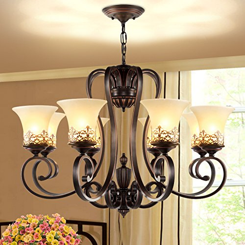 LightInTheBox Island Country Vintage Style 8 Lights Chandeliers LED Flush Mount Painting Lighting Fixture Lamp for Living Room / Bedroom / Dining Room 0