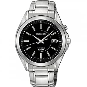 Seiko Men's Kinetic Watch with Black Dial Analogue Display and Silver Stainless Steel Bracelet SKA523P1