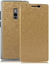 Heartly Premium Luxury PU Leather Flip Stand Back Case Cover For OnePlus Two 2 Dual Sim - Hot Gold