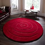 Think Rugs Spiral 100% Wool Hand Carved Round Rug, Red, 180 x 180 Cm
